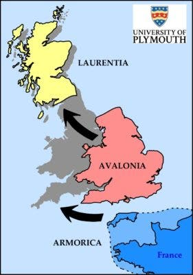 This graphic shows how the ancient land masses of Laurentia, Avalonia and Armorica would have collided to create the countries of England, Scotland and Wales. Credit: University of Plymouth