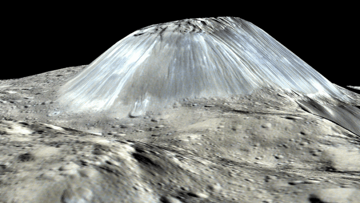 A simulated perspective of Ahuna Mons. Credit: NASA/JPL-CALTECH/UCLA/MPS/DLR/IDA/PSI