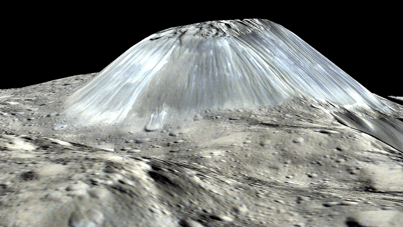 A simulated perspective of Ahuna Mons. Credit: NASA/JPL-CALTECH/UCLA/MPS/DLR/IDA/PSI