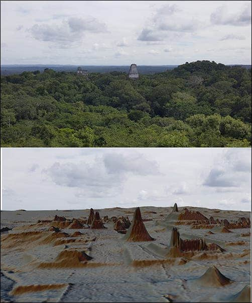 Top: Tikal seen above the trees. Bottom: same view, this time stripped of vegetation by LiDAR. Credit: Luke Auld-Thomas and Marcello A. Canuto/PACUNAM.