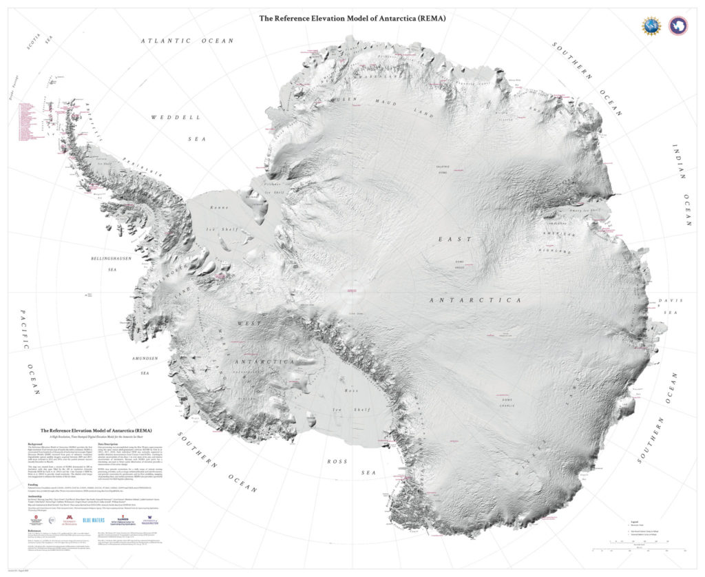 The new Antarctic topographic map. Credit: REMA.