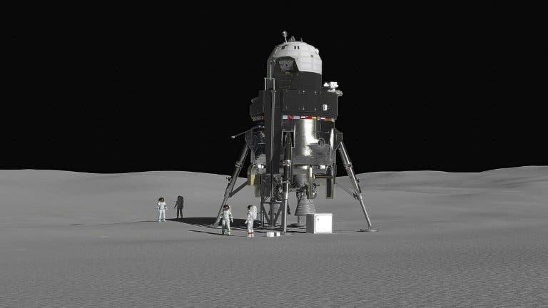 Lockheed Martin's concept for a lunar lander capable of carrying up to four people to the moon's surface. Credit: Lockheed Martin.