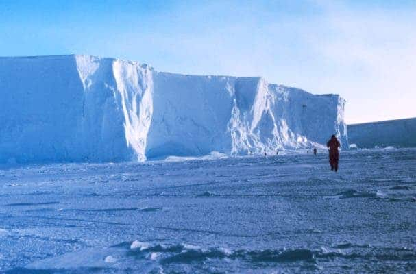 The Ross Ice Shelf at the Bay of Whales - the point where Amundsen staged his successful assault on the South Pole. Photo date 1998 December. Photographer: Michael Van Woert, NOAA NESDIS, ORA.