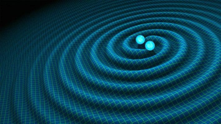 An artist's impression of gravitational waves generated by binary neutron stars. Credit: R. Hurt/Caltech-JPL/EPA.
