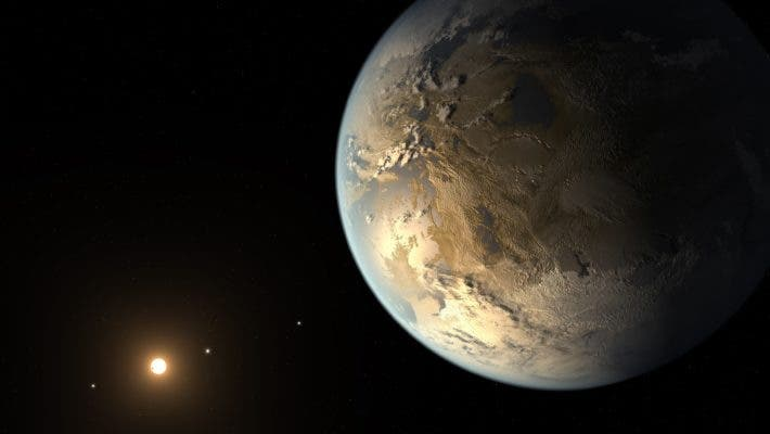 An artist conception of what the system around Kepler-186f could look like. Credit: NASA AMES/SETI INSTITUTE/JPL-CALTECH.