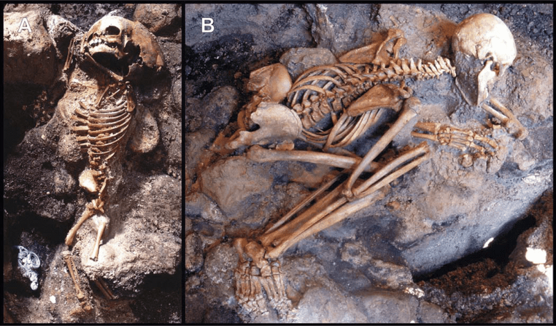 The skeletons of a child (left) and adult male (right) from Herculaneum, whose frozen postures suggest they died instantly. Credit: PLOS One.