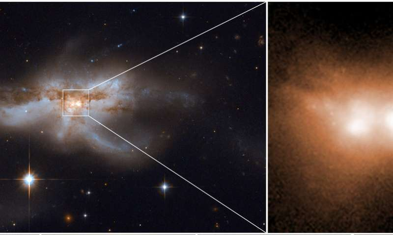 The final stage of a union between two galactic nuclei in the messy core of the merging galaxy NGC 6240. Credit: NASA, ESA, W. M. Keck Observatory, Pan-STARRS and M. Koss.