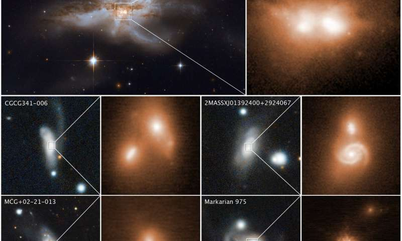 Various colliding galaxies along with closeup views of their coalescing nuclei in the bright cores. The images were taken in near-infrared light by the Keck Observatory in Hawaii. Credit: Keck images: W. M. Keck Observatory and M. Koss.