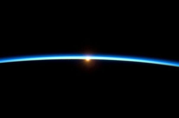 Earth's thin atmosphere is all that stands between life on Earth and the cold, dark void of space. Our planet's atmosphere has no clearly defined upper boundary but gradually thins out into space. The layers of the atmosphere have different characteristics, such as protective ozone in the stratosphere, and weather in the lowermost layer. Credit: NASA.