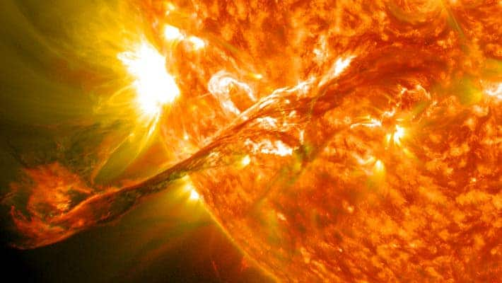 Magnificent coronal mass ejection erupts on the Sun. Credit: Wikimedia Commons.