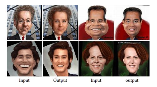 Caricatures to photos. Credit: Cao et al.
