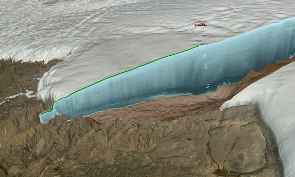 Illustration of newly discovered immense crater in Greenland. Credit: Nasa/Cryospheric Sciences Lab/Natural History Museum of Denmark.