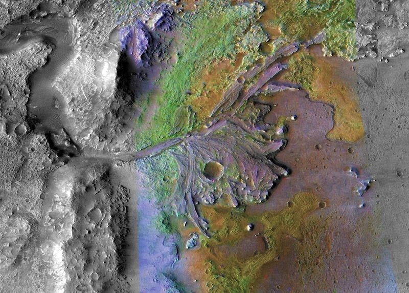 Color-coded image of Jezero Crater taken by NASA's Mars Reconnaissance Orbiter. Jezero means 'lake' in Serbian. Credit: NASA / JPL-Caltech / MSSS / JHU-APL.