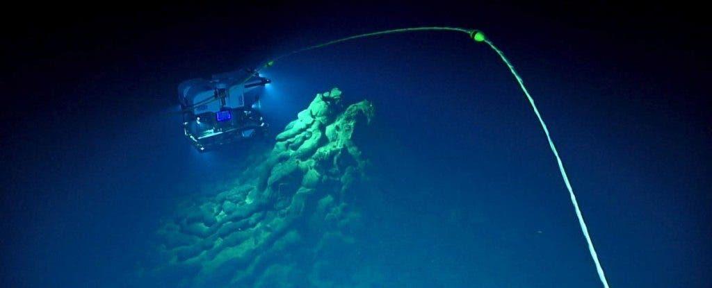 Volcano glass underwater.