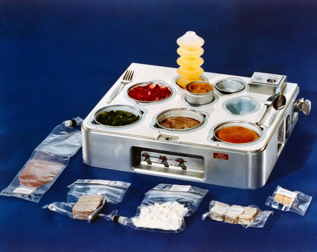 Astronaut food during the Skylab days in the 1970s:  grape drink, beef pot roast, chicken and rice, beef sandwiches and sugar cookie cubes, orange drink, strawberries, asparagus, prime rib, dinner roll and butterscotch pudding. Credit: NASA.