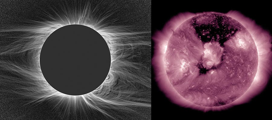 Two views of the Sun's corona: during an eclipse (top) and in ultraviolet light (bottom). Credit: NCAR's High Altitude Observatory and NASA SDO.