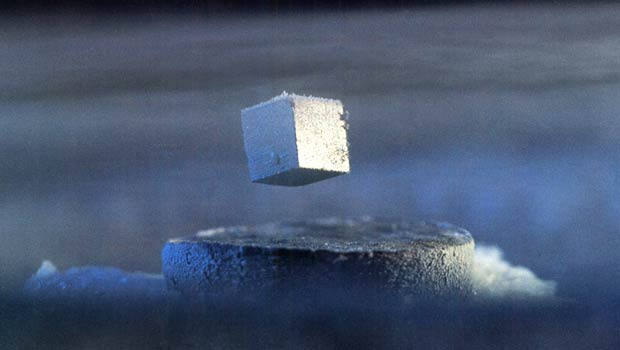 High-temperature superconductivity helps scientists measure small magnetic fields, and aids advances in fields including geophysical exploration, medical diagnostics and magnetically levitated transportation. The discovery earned Bednorz and Müller the 1987 Nobel Prize in Physics. Credit: IBM.