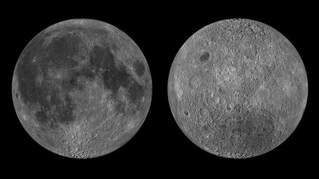 The near and far side of the moon. Credits NASA