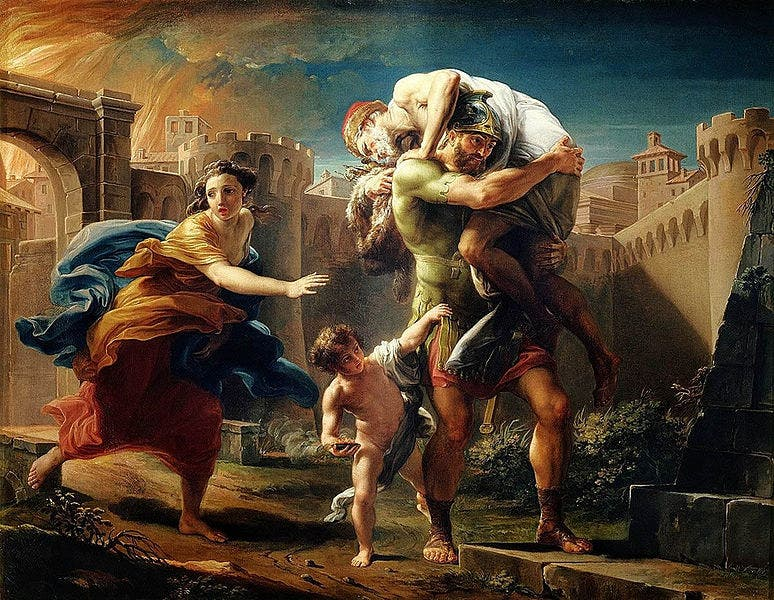 Aeneas fleeing Troy.