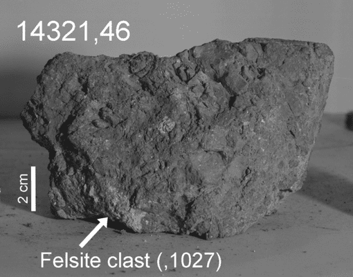 This rock fragment is over 4 billion years old. It may formed on Earth but ended up on the moon due to a massive asteroid impact. Credit: USRA/LPI.