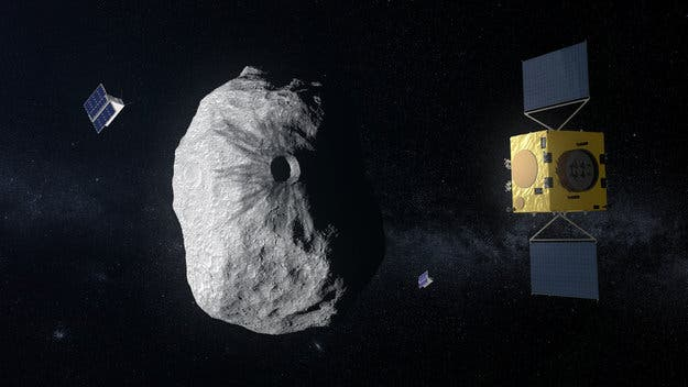 Illustration of Hera at smallest asteroid ever visited. Credit: ESA.