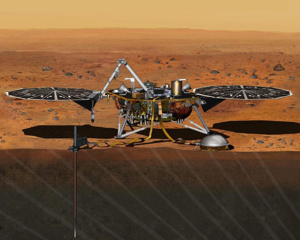 Illustration of InSight probe with its two main instruments deployed, a heat probe (left) and seismometer (bell-shaped, right). Credit: NASA.