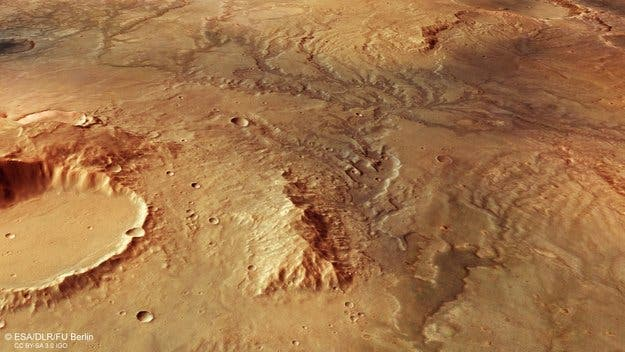 Perspective view of ancient river valley network on Mars. Credit: ESA.