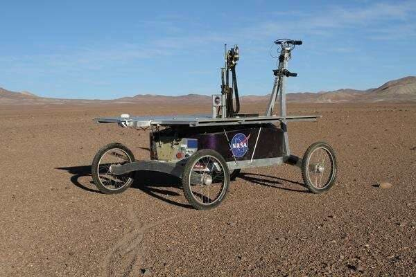 A rover mission drilled 80 cm below the surface of the Atacama desert and found unusual organisms. Credit: NASA.