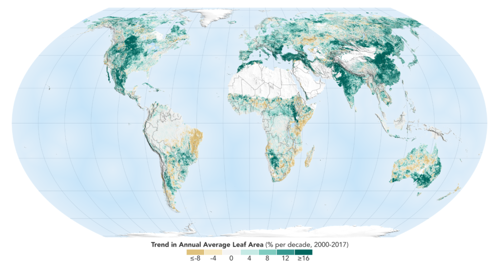 The world is a greener place than it was 20 years ago, as shown on this map, where areas with the greatest increase in foliage are indicated in dark green. Credit: NASA Earth Observatory.