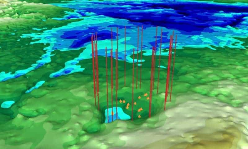 A new impact crater has been found under more than a mile of ice in northwest Greenland. Credit: NASA Goddard.