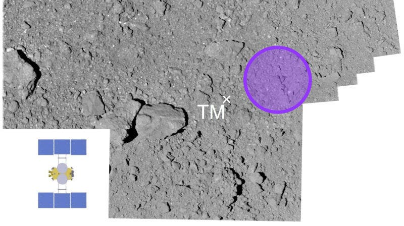 The target area (in purple) prior to the sample extraction. Credit: JAXA.