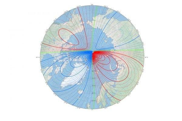 This map shows the location of the north magnetic pole (white star) and the magnetic declination (contour interval 2 degrees) at the beginning of 2019. Credit: NOAA NCEI/CIRES.