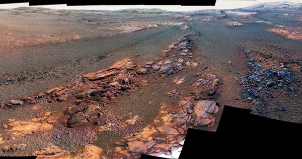 A zoomed-in section from Opportunity's 360-panorama -- the last image that the rover beamed back before it shut down for good. Credit: NASA.