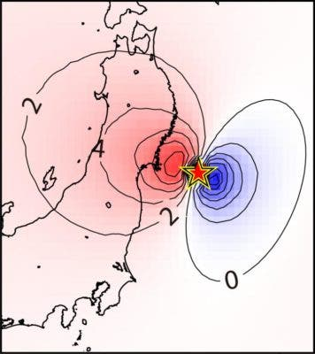 Contour maps depict changes in gravity gradient immediately before the earthquake hits. Credit: Kimura Masaya.