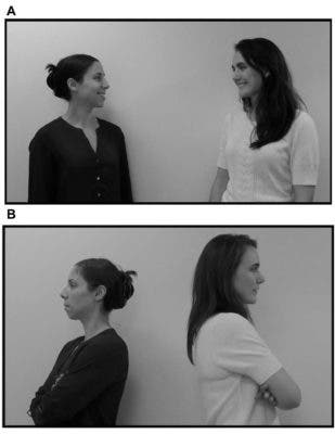 Infants saw two types of video clips of actors interacting: in one, two women faced and smiled at each other, as if they were friends (A); in another, the two women turned their backs to each other, indicating that they were strangers (B). Credit: Athena Vouloumanos, NYU's Department of Psychology.