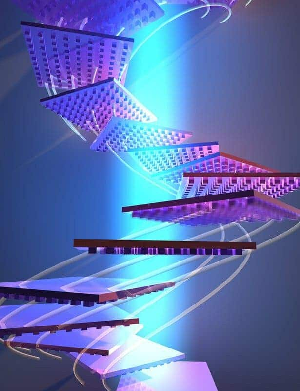 Artist concept of nano-patterned object reorienting itself to remain in a beam of light.