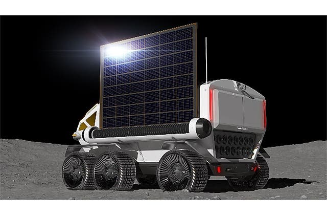 The plan is to primarily power the rover with fuel cells, with a rullup solar panel array supplying additional power. Credit: JAXA.