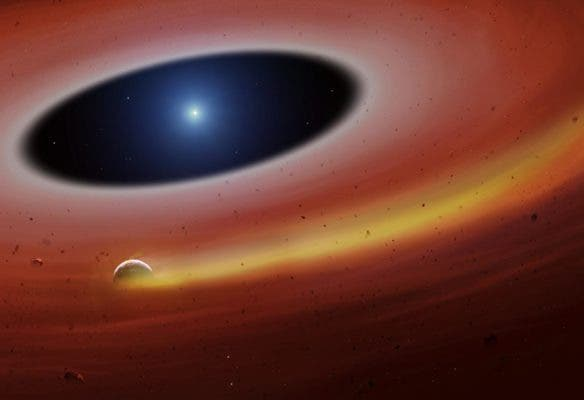 Artist impression of planetary fragment orbiting a white dwarf. Credit: University of Warwick/Mark Garlick.