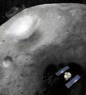 Illustration showing the moment when the Hayabusa2 space probe makes a crater on the asteroid Ryugu. Credit: Akihiro Ikeshita.