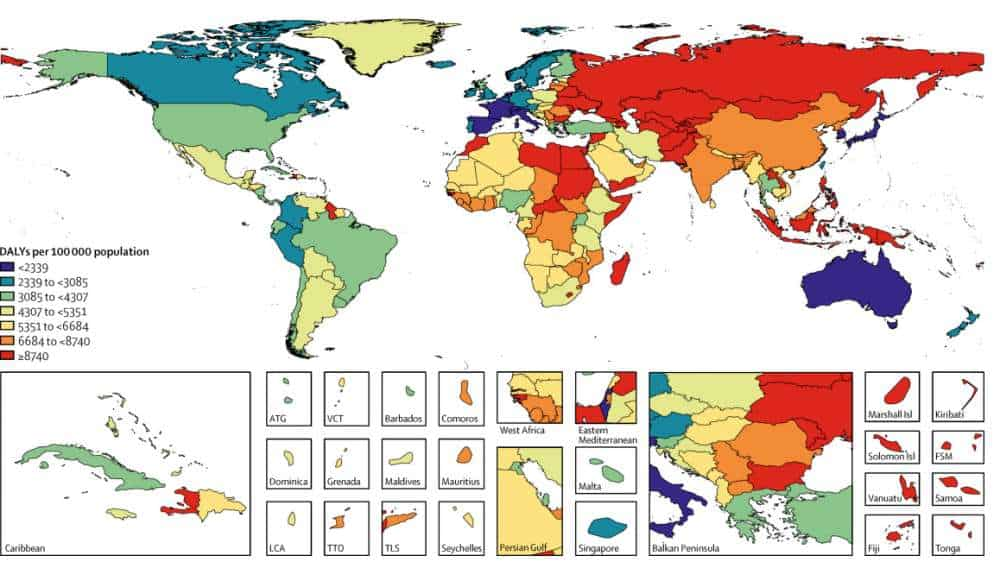 The mortality rate per 100,000 people attributable to diet in 2017. Credit: The Lancet.