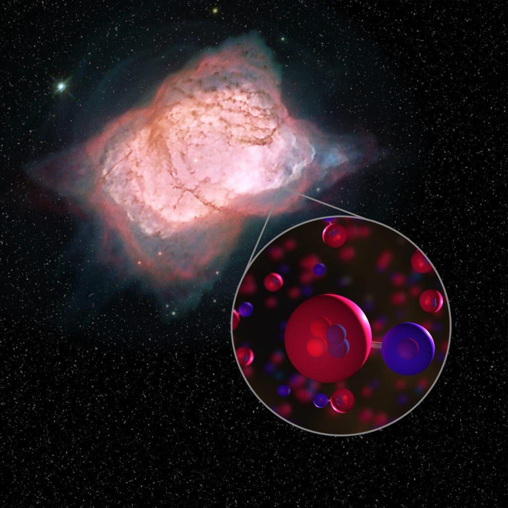 Illustration of planetary nebula NGC 7027 and helium hydride molecules. Credit: NASA.