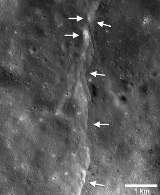 This prominent thrust fault is one of thousands discovered on the moon by NASA's Lunar Reconnaissance Orbiter (LRO). New research suggests that these faults may still be active today, producing moonquakes. Credit: NASA/GSFC/Arizona State University/Smithsonian.