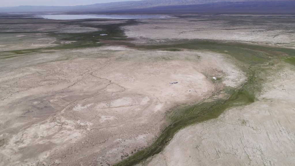 Ancient lake landforms around Biger Nuur, Mongolia, which is evidence of larger lake sizes in the past. Credit: Nils Vanwezer.