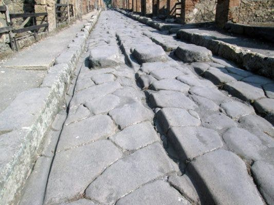 The passage of Roman carts eventually led to ruts in the road, as seen above. Credit: Eric Poehler.