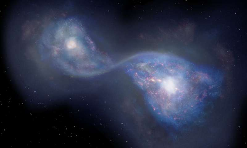 Artist's impression of the merging galaxies B14-65666 located 13 billion light years-away. Credit: National Astronomical Observatory of Japan.