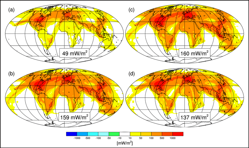 These maps show simulated global radiative forcing levels from contrail cirrus clouds from (a) current climate and current airplane traffic, (b) current climate and expected 2050 airplane traffic, (c) predicted 2050 climate and expected 2050 airplane traffic, and (d) predicted 2050 climate, expected 2050 airplane traffic, and improved fuel efficiency and emission standards. Credit: Bock and Burkhardt, 2019.