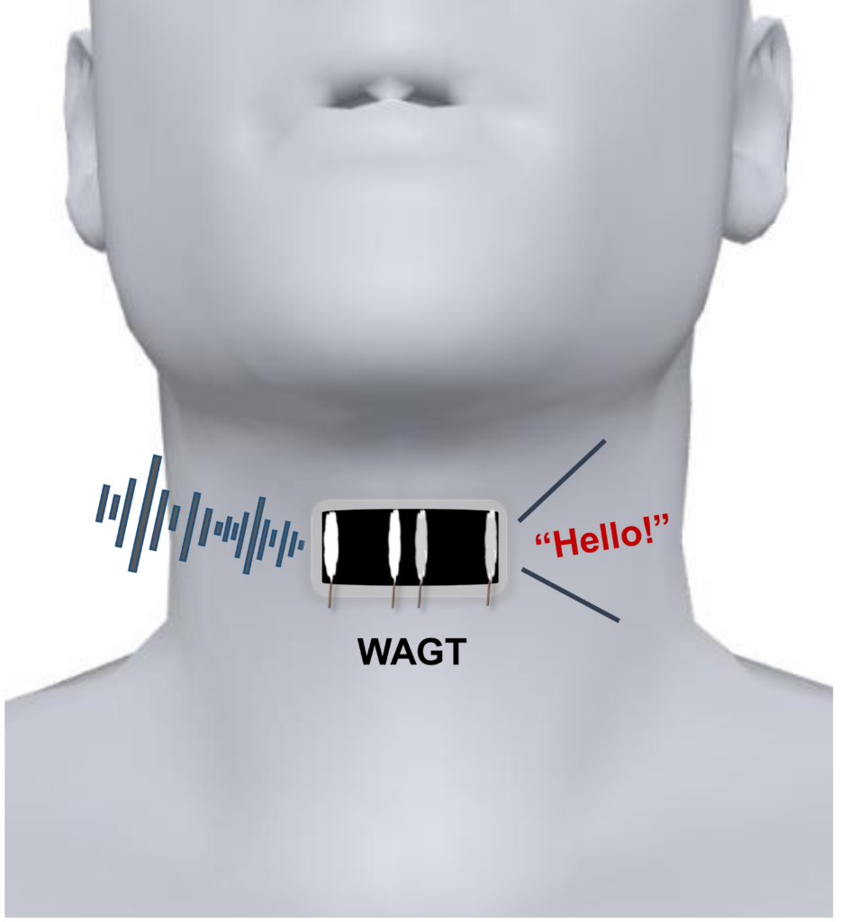 A wearable artificial graphene throat transforms human throat movements into different sounds. Credit: ACS Nano.