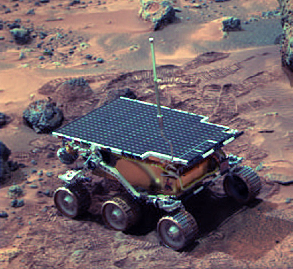 Sojourner is the Mars Pathfinder robotic Mars rover that landed on July 4, 1997 in the Ares Vallis region. Credit: NASA JPL.