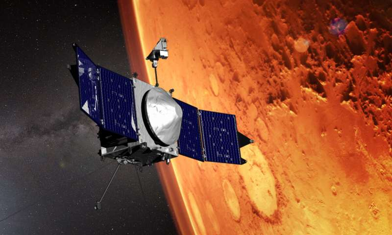 This illustration shows the MAVEN spacecraft and the limb of Mars. Credit: NASA's Goddard Space Flight Center.