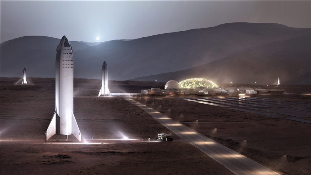 Artist impression of the Starship on Mars. Credit: SpaceX.